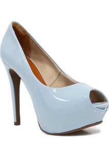 Sapato Bebecê Peep Toe Meia Pata Azul