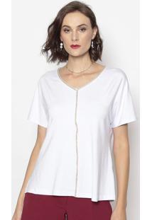 Blusa Com Recortes- Branca- Cotton Colors Extracotton Colors Extra