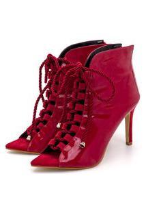 Sandália Bota Ankle Boot Salto Alto Feminina Confortável Em Verniz Vermelho