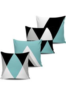 Kit 4 Capas Almofadas Geometrica Purist Blue E Preto 45X45Cm - Tricae