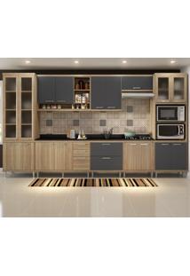 Cozinha Completa 17 Portas 5 Gavetas Sicilia 5807 Argila/Grafite Premium - Multimóveis