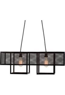Luminaria Pendente Calisto Estrutura Em Barra Chata De Ferro Cor Preto 73Cm (Larg) - 53561 - Sun House