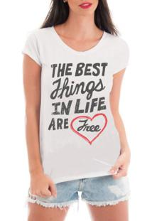 Camiseta Criativa Urbana Rendada Frases Free