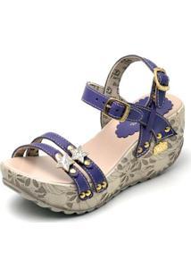Sandalia Top Franca Shoes Betina Beker Plataforma Anabela Feminina - Feminino-Marinho