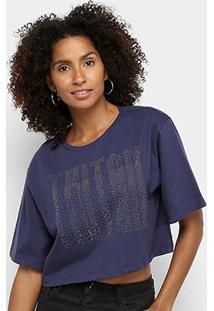 Camiseta Triton Estampada Cropped Feminina - Feminino-Azul