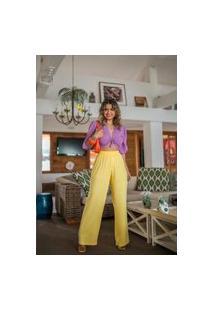 Calça Social Pantalona Flare Cintura Alta Boca Larga Lastex Amarela
