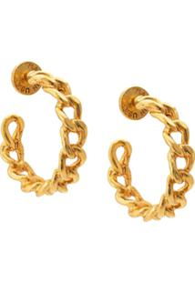 Oscar De La Renta Chain Hoop Earrings - Dourado