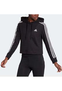 Blusão Adidas Cropped Essentials 3S Feminino Preto