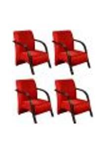 Conjunto De 4 Poltronas Sevilha Decorativa Braço De Madeira Cadeira Para Recepção, Sala Estar Tv Espera, Escritório, Vários Ambientes - Suede Vermelho