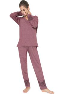 Pijama Pzama Estampado Vinho