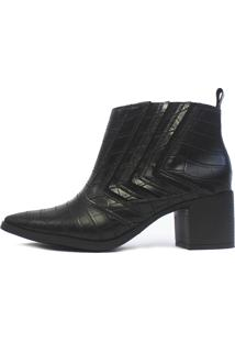 Bota Cano Curto Damannu Shoes Jennifer Croco Preto