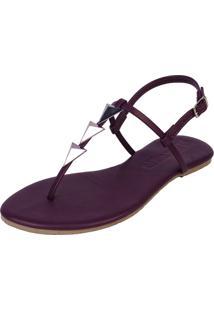 Sandália Rasteira Pirâmide Mercedita Shoes Vinho