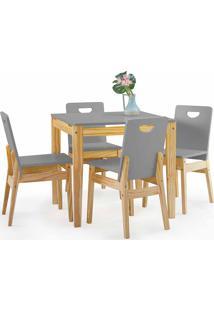 Conjunto De Mesa De Jantar Com 4 Cadeiras Tucupi 80Cm - Acabamento Stain Natural E Cinza Concreto