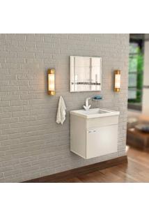 Gabinete De Banheiro Com Lavatório E Espelheira Nunki 31,5X39,5Cm Branco Cerocha