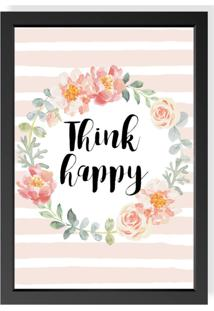 Quadro Decorativo Think Happy Preto