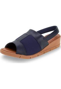 Sandália Feminina Salto Baixo Usaflex - Aa1002 Azul 38