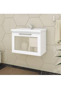 Gabinete De Banheiro 1 Porta Vidro Reflecta Basculante 1 Gaveta 1 Cuba 59Cm Hibisco Mgm Móveis Branco