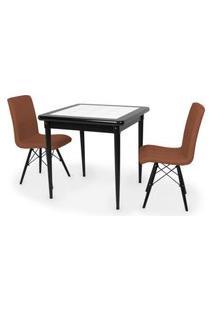 Conjunto Mesa De Jantar Em Madeira Preto Prime Com Azulejo + 2 Cadeiras Gomos - Marrom