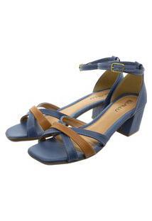 Sandália Lallu Salto Grosso Azul
