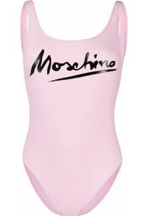 Moschino Maiô Com Logo E Abertura Nas Costas - Rosa