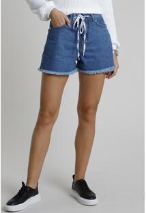 Short Jeans Feminino Cintura Super Alta Com Cadarço Barra Desfiada Azul Médio