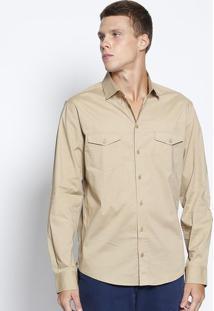 Camisa Slim Com Bolsos- Bege- Colccicolcci