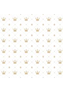 Papel De Parede Quartinhos Adesivo Texturizado Infantil Coroa Dourada 2,70X0,57M