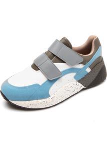 Tênis Vizzano Dad Sneaker Chunky Recortes Azul/Branco