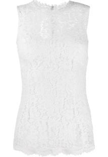 Dolce & Gabbana Blusa Com Renda Floral - Branco