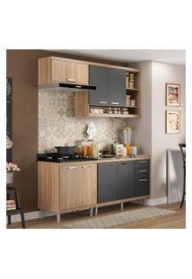 Cozinha Compacta Multimóveis 5810 Sicília 4 Peças Argila E Grafite