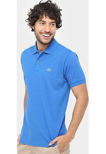 Camisa Polo Lacoste Piquet Original Fit Masculina - Masculino-Azul Royal