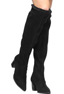 Bota Meia Cano Longo Shoestock Bico Fino Salto Grosso Feminina - Feminino-Preto