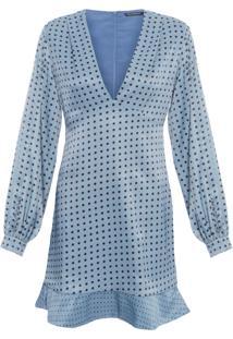 Vestido Amanda Curto Poá - Azul