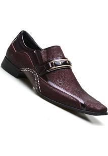 Sapato Social Couro Calvest Estampado Snake - Masculino-Bordô