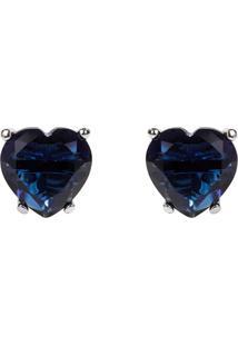 Brinco Coração The Ring Boutique Pedra Cristal Azul Safira Ródio Ouro Branco