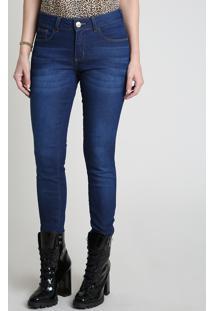 Calça Jeans Feminina Skinny Cintura Média Com Zíper Na Barra Azul Escuro
