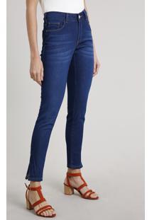 Calça Jeans Feminina Super Skinny Com Zíper Na Barra Azul Escuro