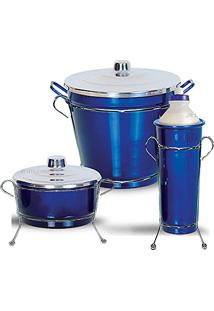 Kit De Pia Aluminio Com Suporte Lixeira (Azul Color)