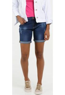 Bermuda Feminina Jeans Puídos Barra Dobrada Marisa