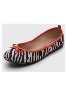 Sapatilha Moleca Zebra Bege/Laranja