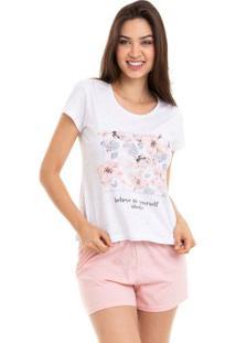 Pijama Short Doll Feminino Floral Com Algodão Luna Cuore