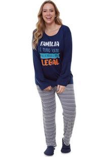 Pijama Feminino Longo Plus Size Família Legal Luna Cuore