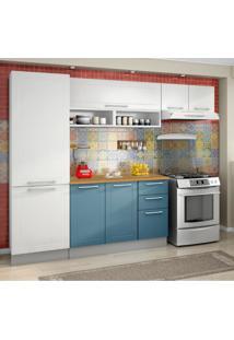 Cozinha Compacta Play 8 Pt 2 Gv Branca E Azul