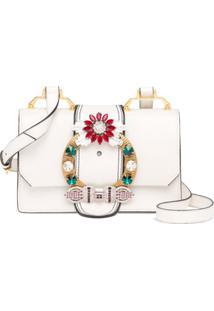 5e5818e37 Farfetch. Bolsa Dobrável Zíper Ombro Tiracolo Feminina Branca Ouro Branco  Couro Madras' Miu ' ...