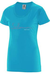 Camiseta Salomon Time To Play Tee Feminino G Azul Claro