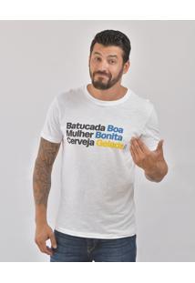 Camiseta Bora Batucada Boa Masculina - Masculino-Branco