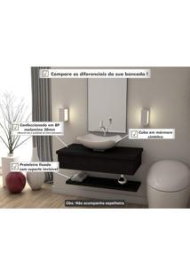 Conjunto Bancada Para Banheiro Com Cuba Abaulada L42 E Prateleira Metrópole 805W Compace Preto Onix