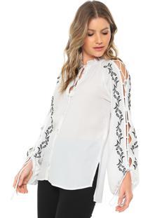 Camisa Maria Filó Bordada Branca