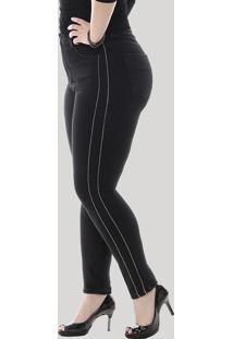 Calça Jeans Feminina Sawary Cigarrete Com Vivo Metalizado Plus Size Preta