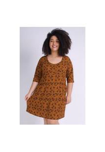 Kaue Plus Size Vestido Mini Floral Plus Size Caramelo Vestido Mini Floral Plus Size Caramelo Ex